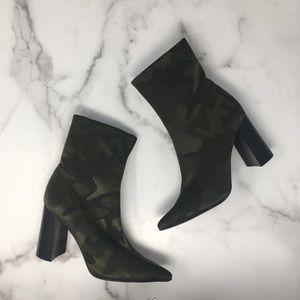 Jeffrey Campbell Siren Booties Green Camo Size 6.5